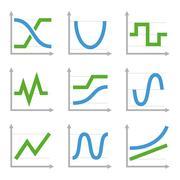 Digital and Analog Colorful Charts Diagrams. Blue Green Vector Set Stock Illustration