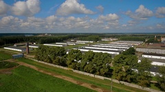 Aerial view of a chicken poultry production farm Stock Footage