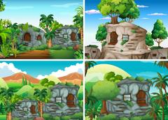 Scene with stone houses in jungle Stock Illustration