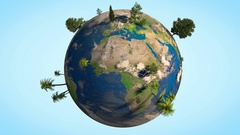 3D animation of Earth globe spinning with different realistic trees on it Stock Footage