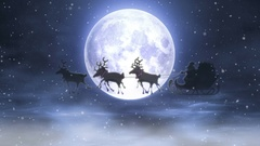 Cartoon Santa Claus Riding in Harness Reindeer Stock Footage