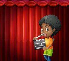 Girl holding clapboard in front of red curtain Stock Illustration