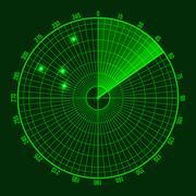 Green Radar Screen. Vector Stock Illustration