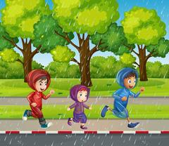 Three kids running in the rain Stock Illustration