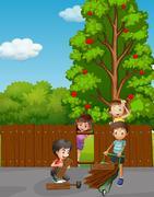Children fixing fence in the garden Stock Illustration