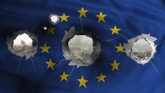 European flag perforated by bullets Stock Footage