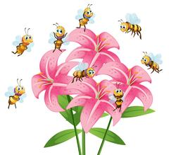 Many bees flying around the lily flower Stock Illustration