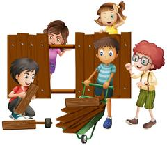 Children building wooden fence Piirros