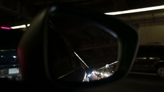 Big city tunnel traffic jam looking in rear view mirror Boston USA Stock Footage