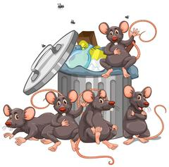 Five rats sitting by the rubbish bin Stock Illustration
