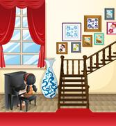 Girl playing piano in the house Stock Illustration