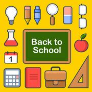 School Icons Set. Vector Stock Illustration