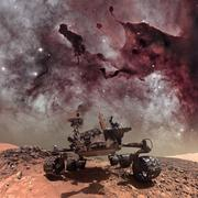 Curiosity rover exploring the surface of Mars. Stock Photos