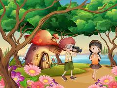 Boy filming girl in the garden Stock Illustration
