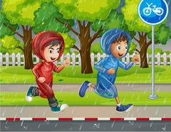 Two boys in raincoat running on pavement Stock Illustration