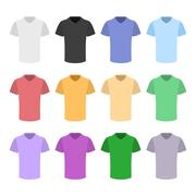 Plain T-shirt Color Template Set in Flat Design Style. Vector Stock Illustration