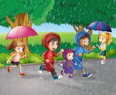 Children running in the rain Stock Illustration