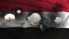 Iraq flag burning and waving Stock Footage