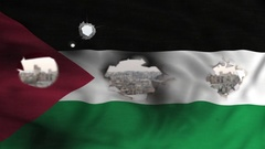 Palestinian territories flag see through bullets holes Stock Footage