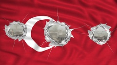 National turkish flag  perforated Stock Footage