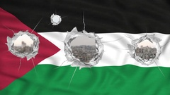 Palestinian flag with bullets holes scenery war Stock Footage