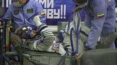 Kazakhstan Baikonur Launch 17 November 2016 Preparing for departure astronaut Stock Footage