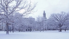 Winter Denver City and County Building Pan Stock Footage