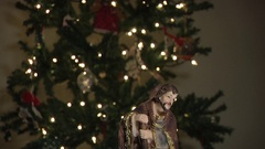 Nativity Scene with Statues of Mary, Joseph and Jesus Stock Footage