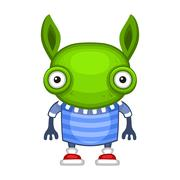 Funny Cartoon Green Alien. Vector Piirros