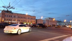 White car waiting and another one turning near Big Sukharevskaya Square Stock Footage