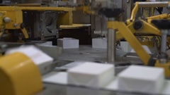Dairy product packaging station Stock Footage