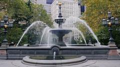 New York, USA - OKT, 2016: City Hall or Croton Fountain, Manhattan, NYC Stock Footage