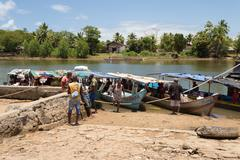 Everyday life on the river Madagascar Stock Photos