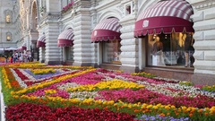 Front of GUM on Red Square with beautiful flowerbeds at day. Stock Footage