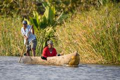 Everyday life on the river Madagascar Stock Photos
