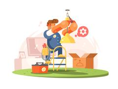 Male electrician character Stock Illustration