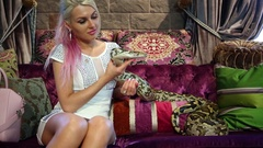 Luxury blonde woman sitting on sofa and holding in hand spotty snake. Stock Footage