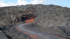 A river of molten lava of a volcano Stock Footage