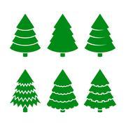 Christmas Trees Icons Set. Vector Stock Illustration