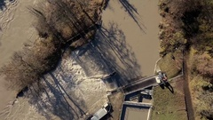 Overhead Top Down shot of a water treatment plant Stock Footage