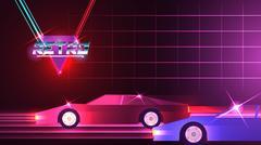 Retro Race Cars Game on Neon Grid Background - Vector Illustration Stock Illustration