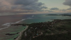 Aerial panorama of Mauritius Island and Indian Ocean Stock Footage