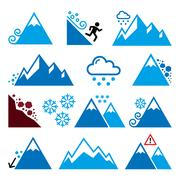 Mountains, avalanche, snowslide- natural disaster icons set Stock Illustration