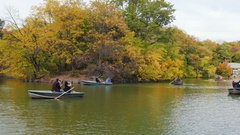 New York, USA - OKT, 2016: Central Park lake and remote control sailing boats in Stock Footage