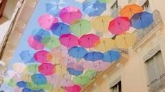 City installation with umbrellas Stock Footage