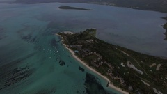 Aerial panorama of ocean and Mauritius Island Stock Footage