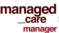 Managed care analysis animated word cloud. Stock Footage