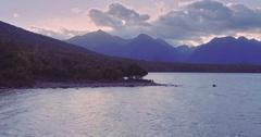 Aerial shot of manapouri lake, river, fiordland, new zealand Stock Footage