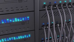 Modern server. Realistic LED. Working data servers. Static camera Stock Footage