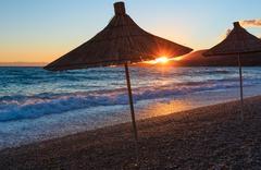 Summer sunset beach (Albania). Stock Photos